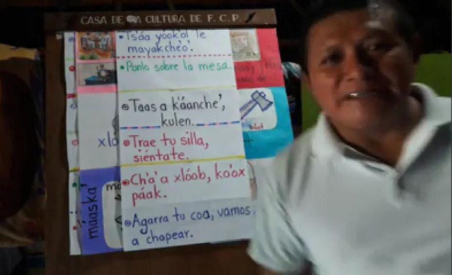 Ni la pandemia frena la enseñanza de la lengua maya.