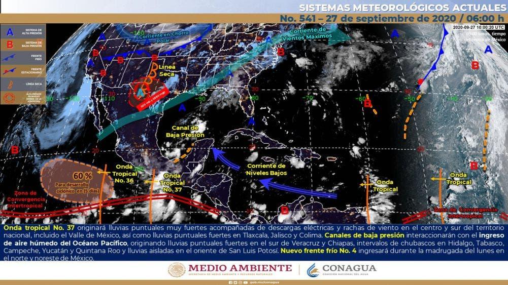 Pronóstico del clima para hoy domingo 27 de septiembre.