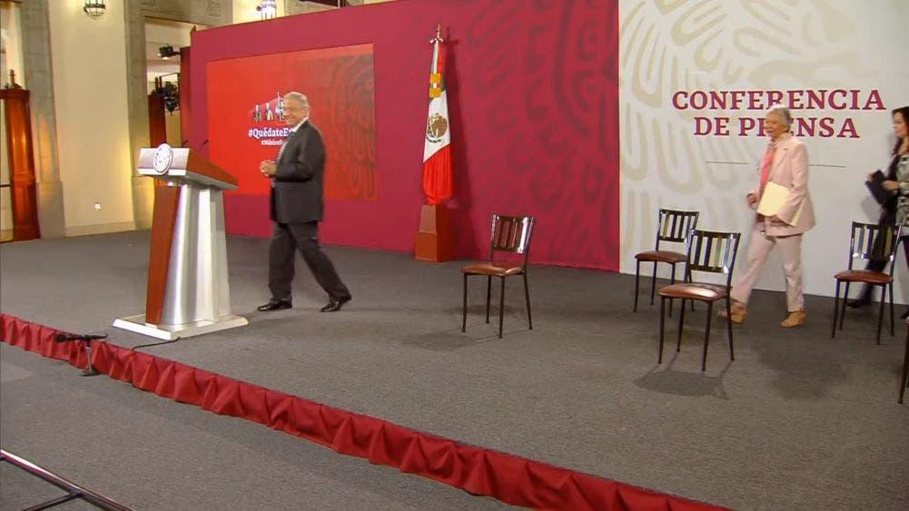 El Presidente de México, Andrés Manuel López Obrador, durante la mañanera de hoy.