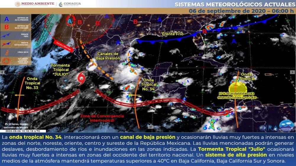 Pronóstico del clima para hoy domingo 6 de septiembre.