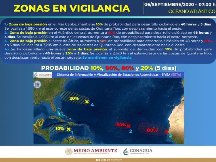 Pronóstico del clima para hoy domingo 6 de septiembre; Cielo nublado por la tarde con lluvias intensas en Campeche, Yucatán y Quintana Roo.