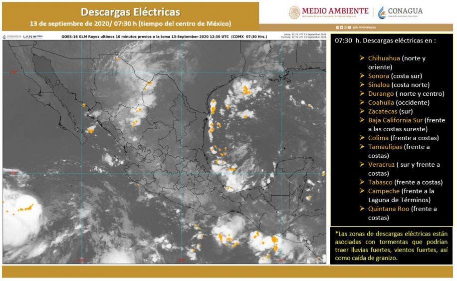 Clima para hoy domingo 13 de septiembre; la onda tropical 35 ocasionará lluvias fuertes en estados del Sureste, sobre todo por la tarde.