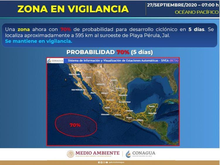 Pronóstico del clima para hoy domingo 27 de septiembre; se esperan chubascos por la tarde para la Península de Yucatán.