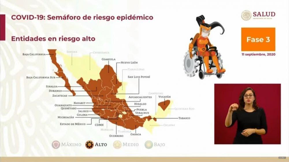 Sin semáforo rojo en México; 24 estados en naranja, 8 en amarillo