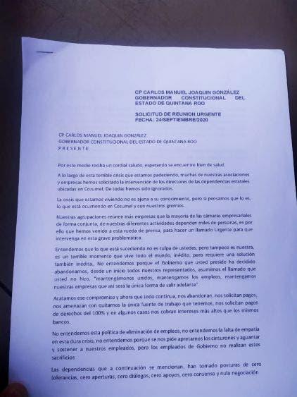 Empresarios de Cozumel piden apoyo del Gobierno de Quintana Roo; piden tiempo para cumplir con sus compromisos de pagos.