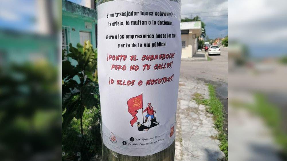 Aparecen carteles contra plan de reactivación económica de Cozumel