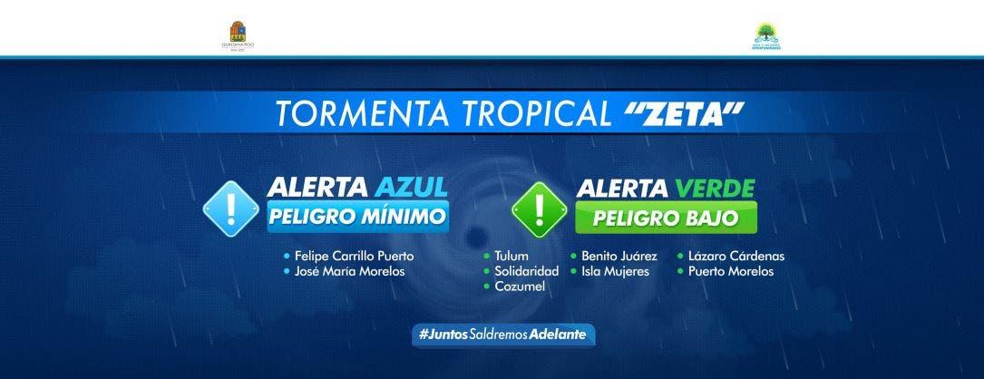En Alerta Verde 7 municipios de Quintana Roo por la tormenta 'Delta'.