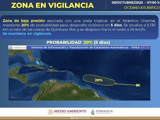 Vigilan zona de baja presión en el Atlántico