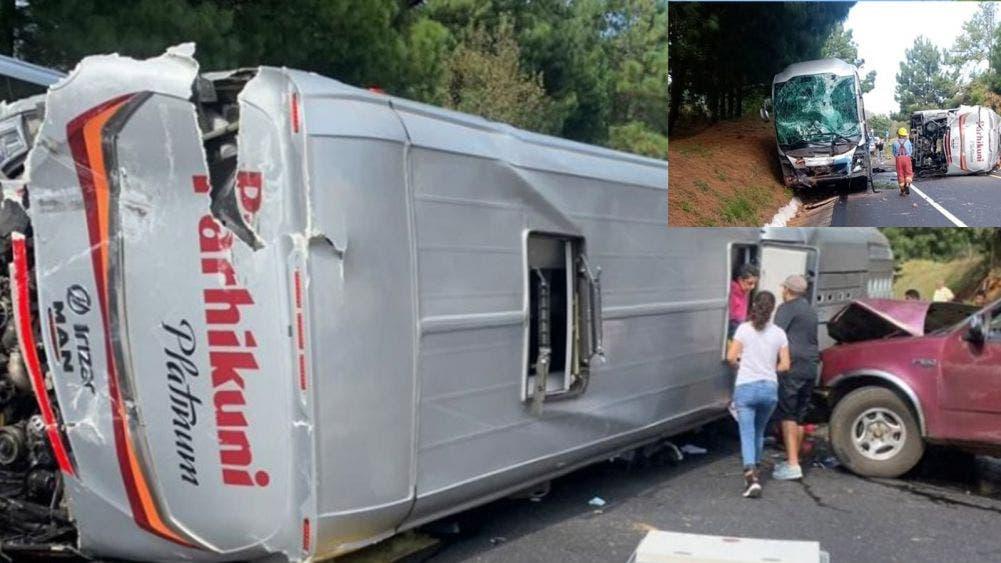 Más de 40 lesionados deja choque entre dos camiones y camioneta