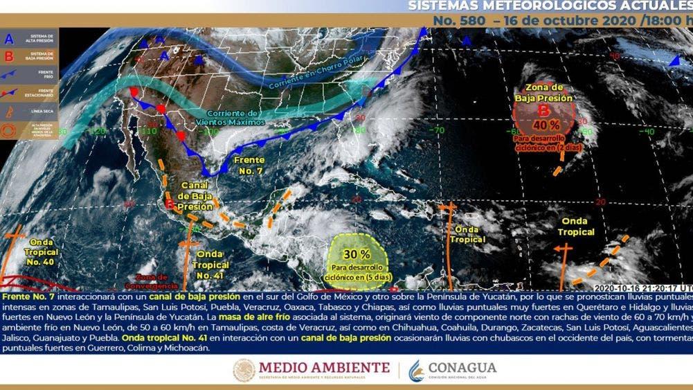 Pronostican fin de semana lluvioso y con frío en varios estados del país