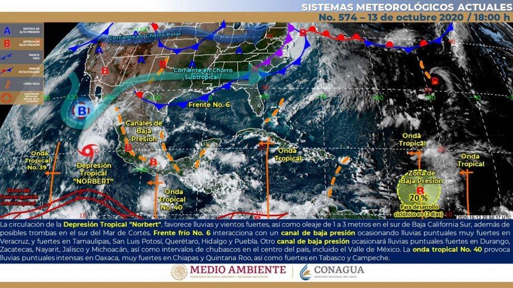 Continuarán las lluvias por la onda tropical No. 40 sobre la Península de Yucatán