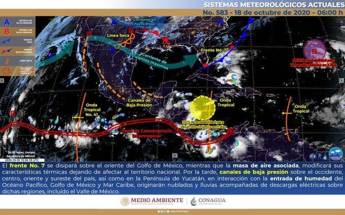Clima: Se pronostican lluvias fuertes para la Península de Yucatán.