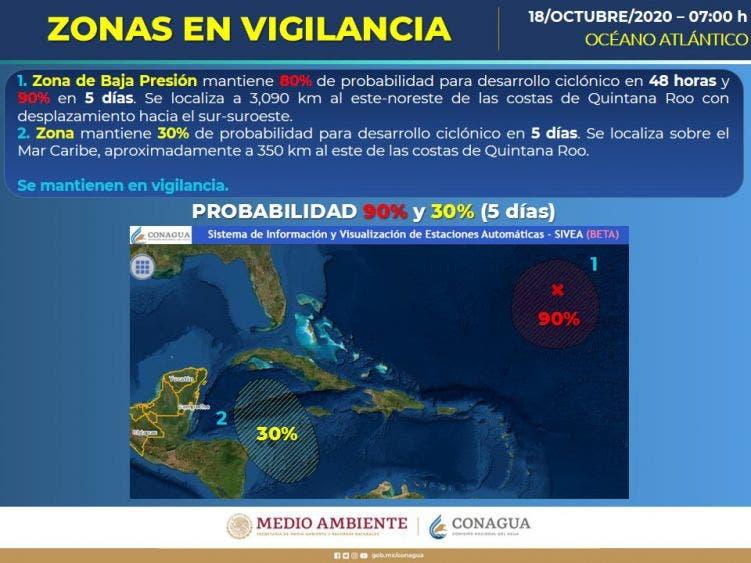 Clima: Se pronostican lluvias fuertes para la Península de Yucatán; se sitúa un canal de baja presión sobre la región.