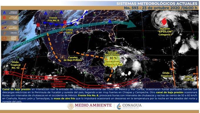 Clima: Vigilan una zona de baja presión en el Caribe.