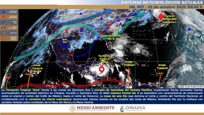 Clima: Depresión se convierte en tormenta tropical 'Zeta'.