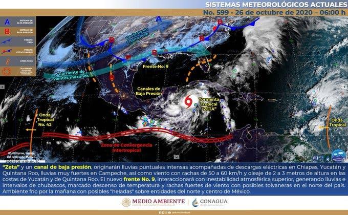 Clima: Lluvias intensas en Quintana Roo por la presencia de 'Zeta'.