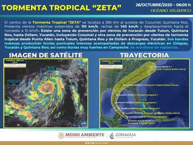 Clima: Lluvias intensas en Quintana Roo por la presencia de 'Zeta'; la tormenta se ubicaba esta mañana a 285 km de Cozumel.