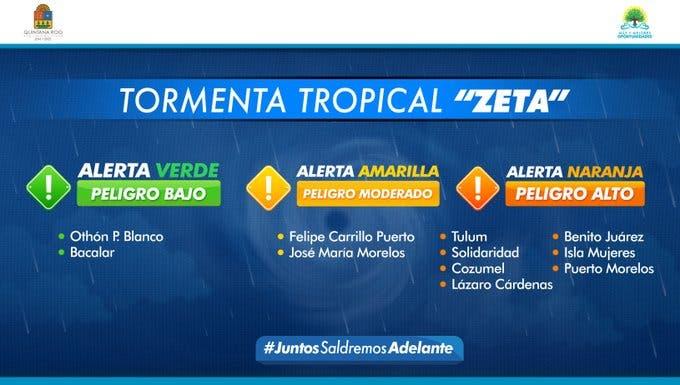 En Alerta Naranja 7 municipios de Quintana Roo por la tormenta 'Zeta'.