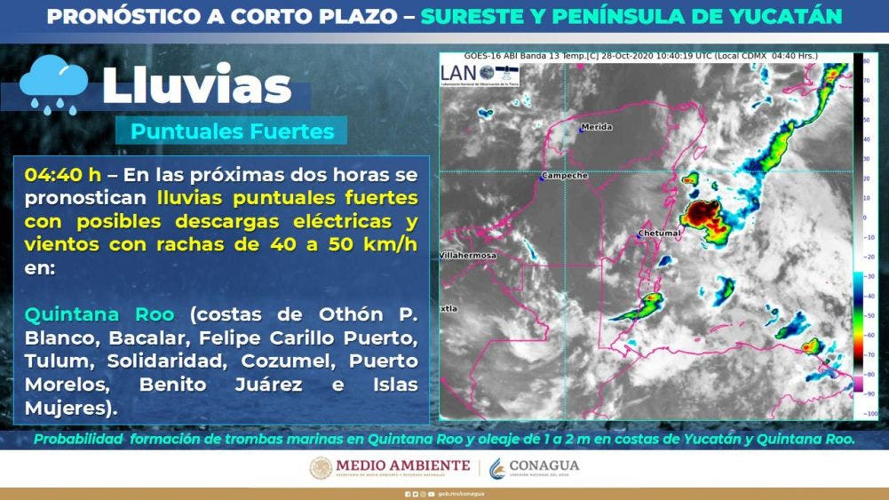 Pronóstico del clima para hoy 27 de octubre 2020; se prevén algunos chubascos para la Península de Yucatán.