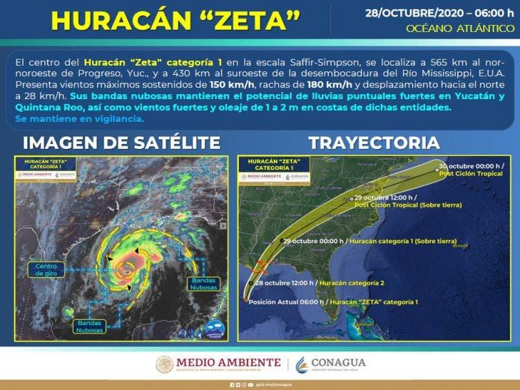 """El huracán """"Zeta"""" se desplazará sobre el norte del Golfo de México, alejándose de la República Mexicana, con probabilidad que ingrese sobre la costa de Luisiana."""