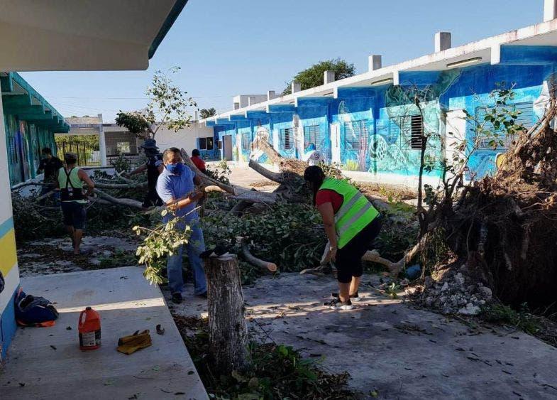 Continúa la recuperación de Puerto Morelos: Laura Fernández, con el trabajo diario e incansable de cientos de brigadistas y voluntarios