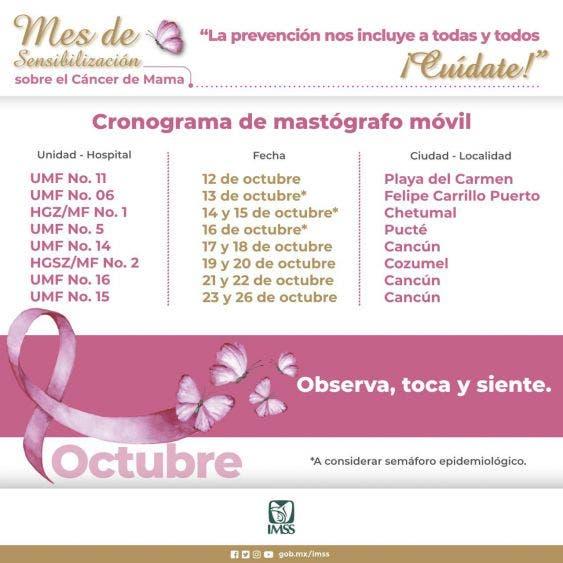 IMSS Quintana Roo pone en marcha el Mastógrafo Móvil; el servicio tuvo que ser suspendido por los altos contagios de Covid.