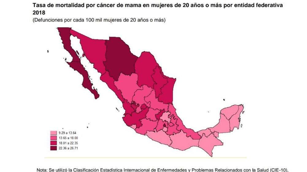 2019 la tasa de incidencia de cáncer de mama mas alta: INEGI