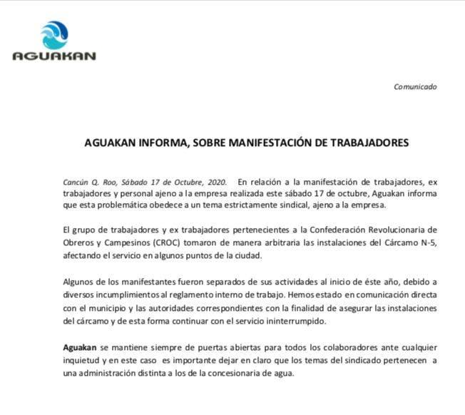 La concesionaria emitió un comunicado donde informó su postura ante la manifestación laboral