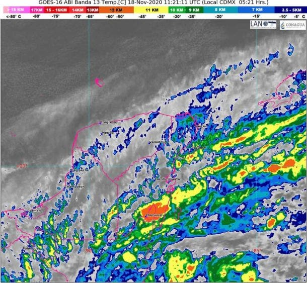 Clima: Se esperan lluvias en Quintana Roo por frente frío; el fenómeno tiene características de estacionario sobre la Península de Yucatán.