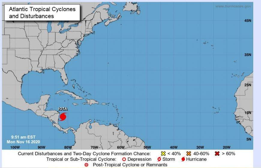 Huracán 'Iota' ya es categoría 4 y se acerca a costas de Centroamérica