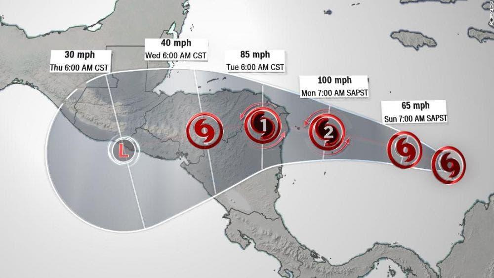 Amenaza huracán 'Iota' a Honduras y Nicaragua.