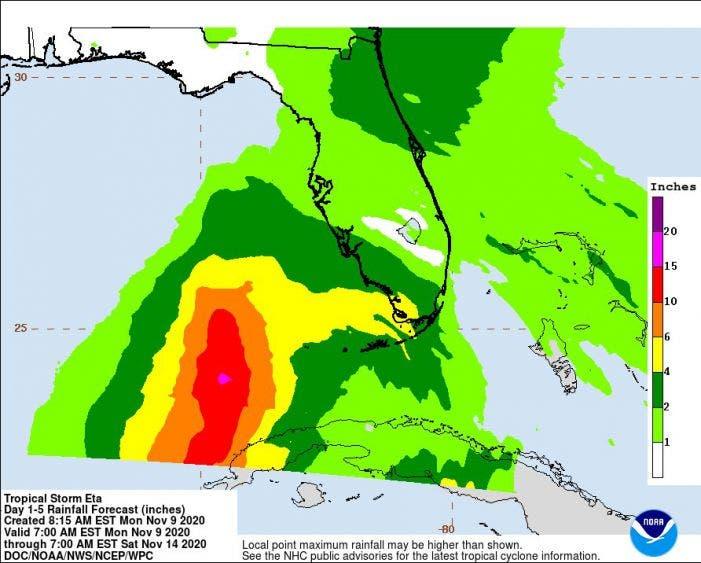 'Eta' esta incontrolable, toca tierra en Florida.