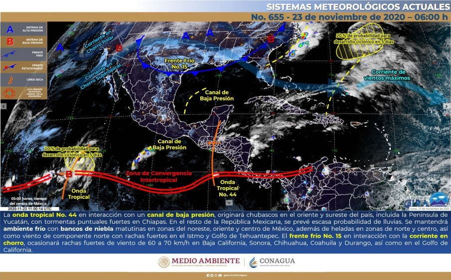 Clima: Se pronostican chubascos para la Península de Yucatán.