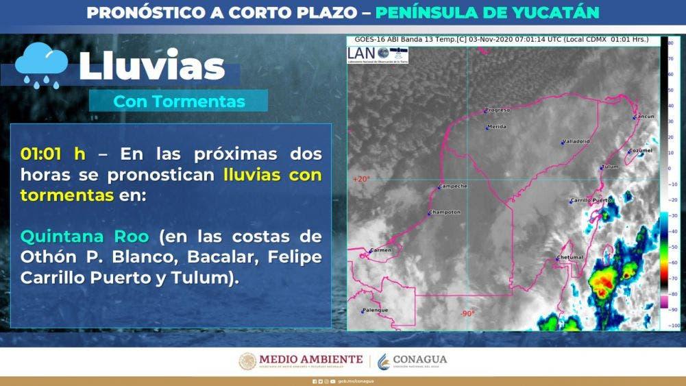 Clima: Se mantienen las lluvias por frente frío en la Península; alertan de oleaje de tres 5 metros en las costas de Quintana Roo.