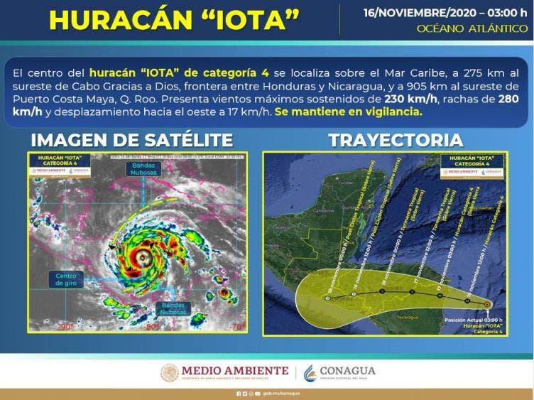 """El huracán """"Iota"""" se intensificó a categoría cuatro, y hasta el momento no representa riesgos para la Península de Yucatán."""