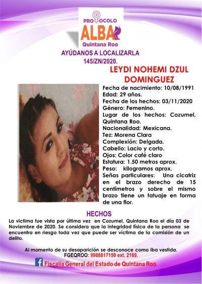 Apoya Grupo Antisecuestro búsqueda de joven desaparecida en Cozumel; Leydi Dzul Domínguez se encuentra extraviada desde el 3 de noviembre.