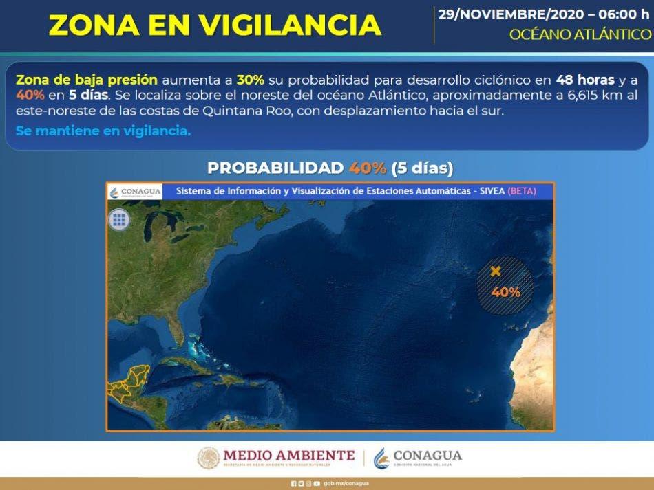 Se mantiene en vigilancia una zona de baja presión que aumentó a 30% su probabilidad para desarrollo ciclónico en 48 horas.