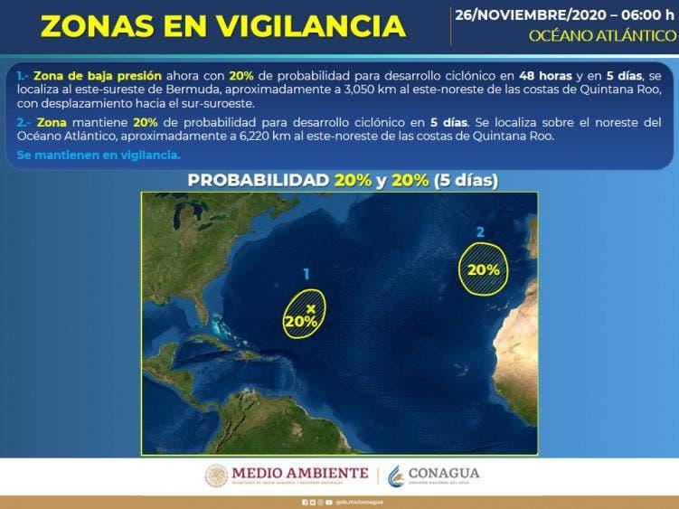 Se vigilan dos zonas de baja presión en el océano Atlántico con probabilidad de desarrollo ciclónico.