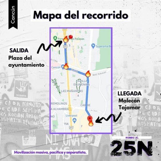 El recorrido que hará el contingente en Cancún, en el marco del 25N.