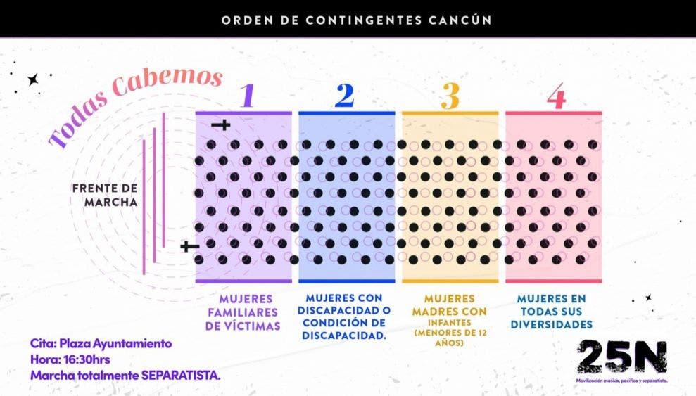 Todo listo para la marcha feminista de hoy en Cancún.