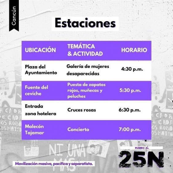 Todo listo para la marcha feminista de hoy en Cancún; conmemorarán el Día Internacional de la Eliminación de la Violencia Contra la Mujer.