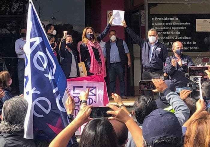 """Margarita Zavala a su salida del INE el pasado 13 de septiembre, tras haber impugnado la decisión de no dar registro a su partido """"México Libre""""."""