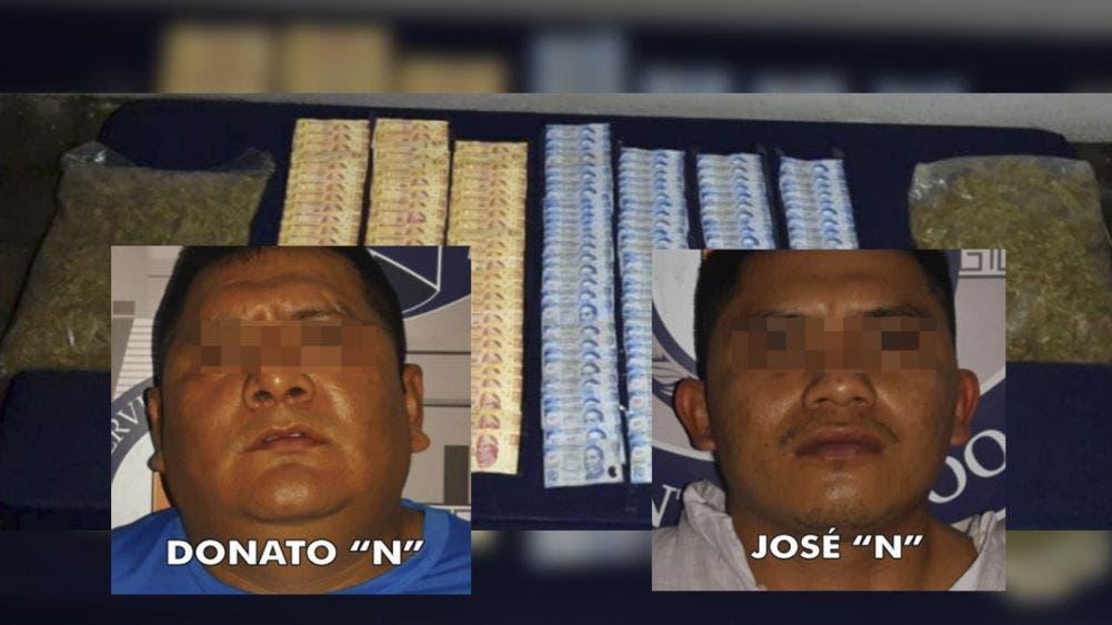 Caen dos presuntos narcomenudistas en Tulum con mariguana y efectivo