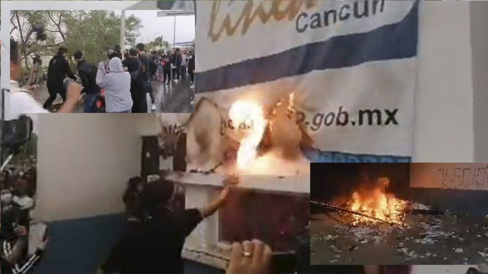 Cancún: Marcha feminista termina en actos violentos en la FGE de Q. Roo