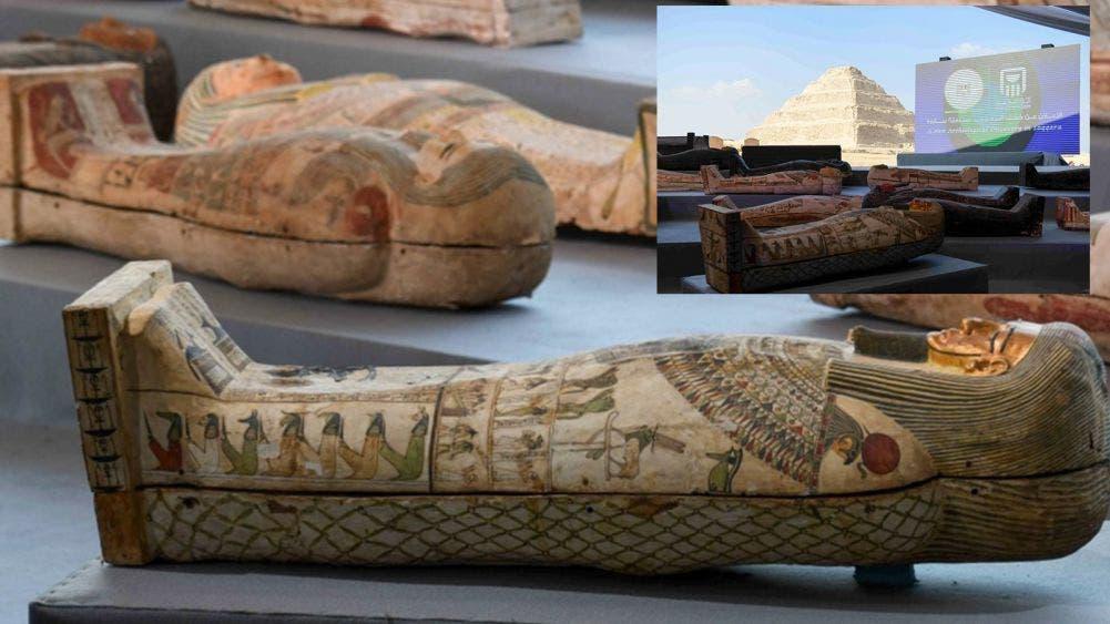 Arqueólogos egipcios descubren un centenar de sarcófagos milenarios