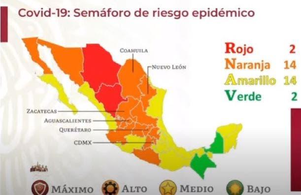 Semáforo federal marca amarillo a Yucatán; el Estado se mantendrá en Naranja