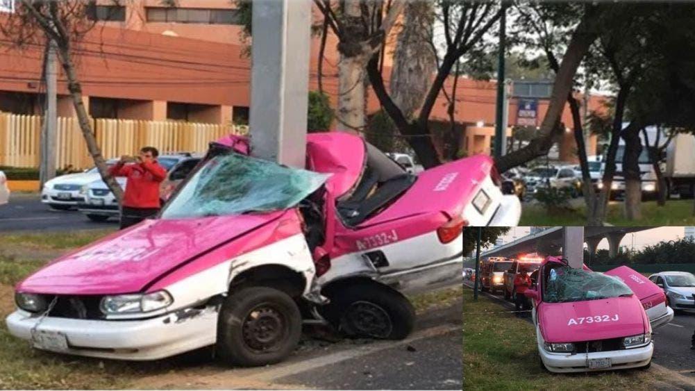 Muere taxista al chocar contra un poste; la unidad quedó partida a la mitad