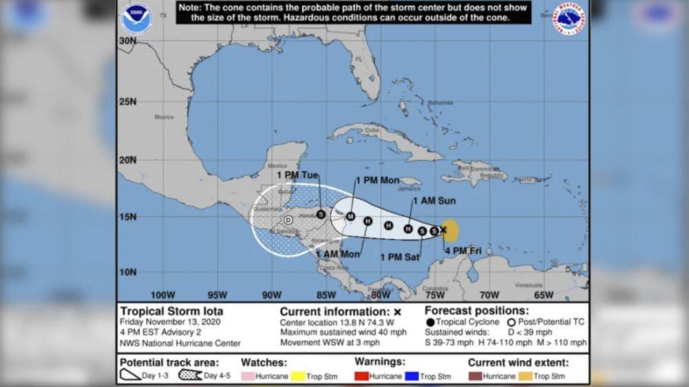 """Nace la tormenta tropical """"Iota"""" en el Mar Caribe"""