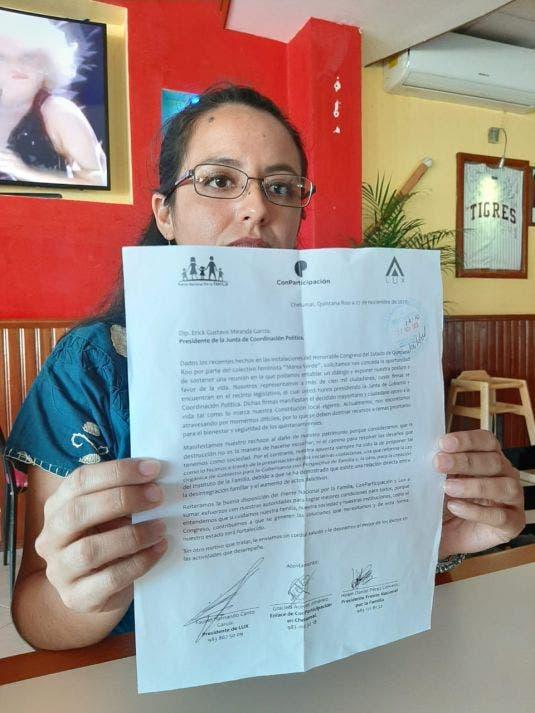 Frente por la Familia rechaza despenalizar el aborto en Quintana Roo; propuesta de Red Feminista atenta contra la seguridad: Graciela Aceves.
