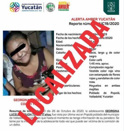 Yucatán: Localizan a joven extraviada; se encontraba con unos conocidos